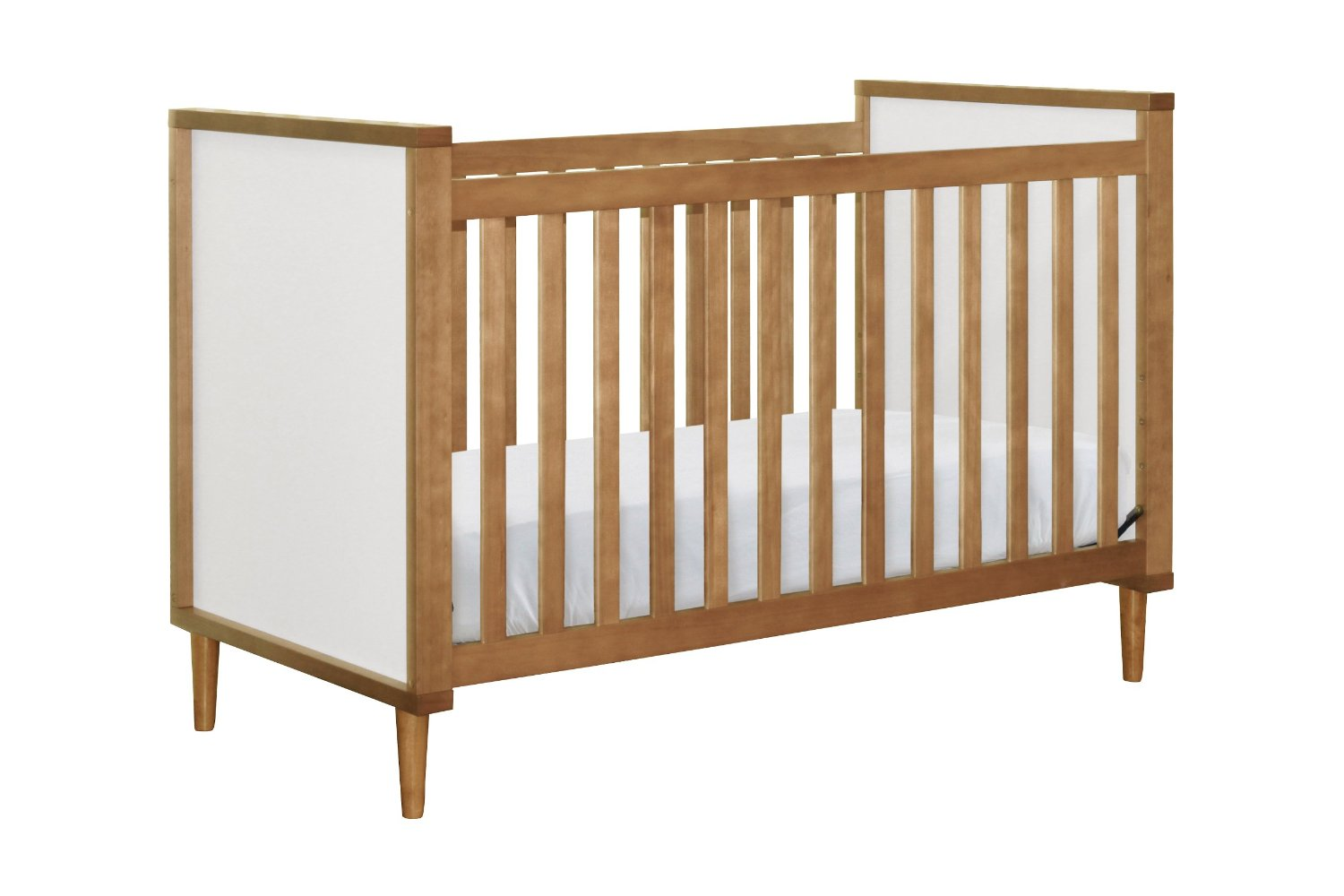 Wooden Crib By Babyletto With White Bedding For Nursery Furniture Ideas