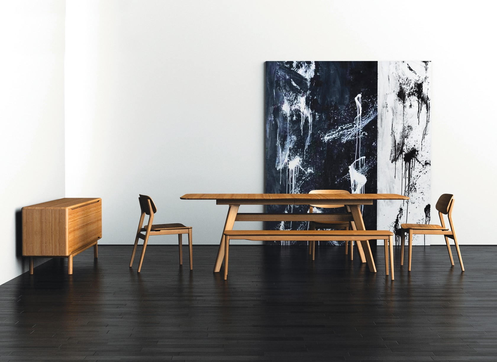 Wooden Expandable Dining Table Set On Black Wooden Floor Matched With White Wall Plus Picture For Dining Room Decor Ideas