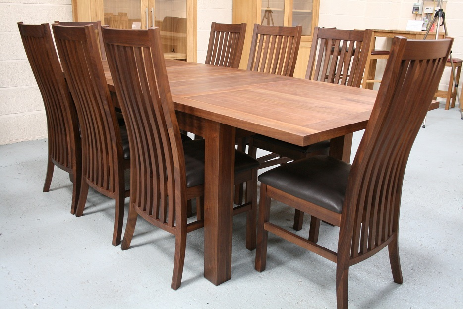 wooden expandable dining table set with black seat for dining room decor ideas