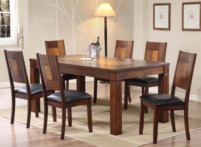 Wooden Expandable Dining Table Set With Black Seat On Cream Carpet Plus Wooden Floor Matched With White Wall For Dining Room Decor Ideas