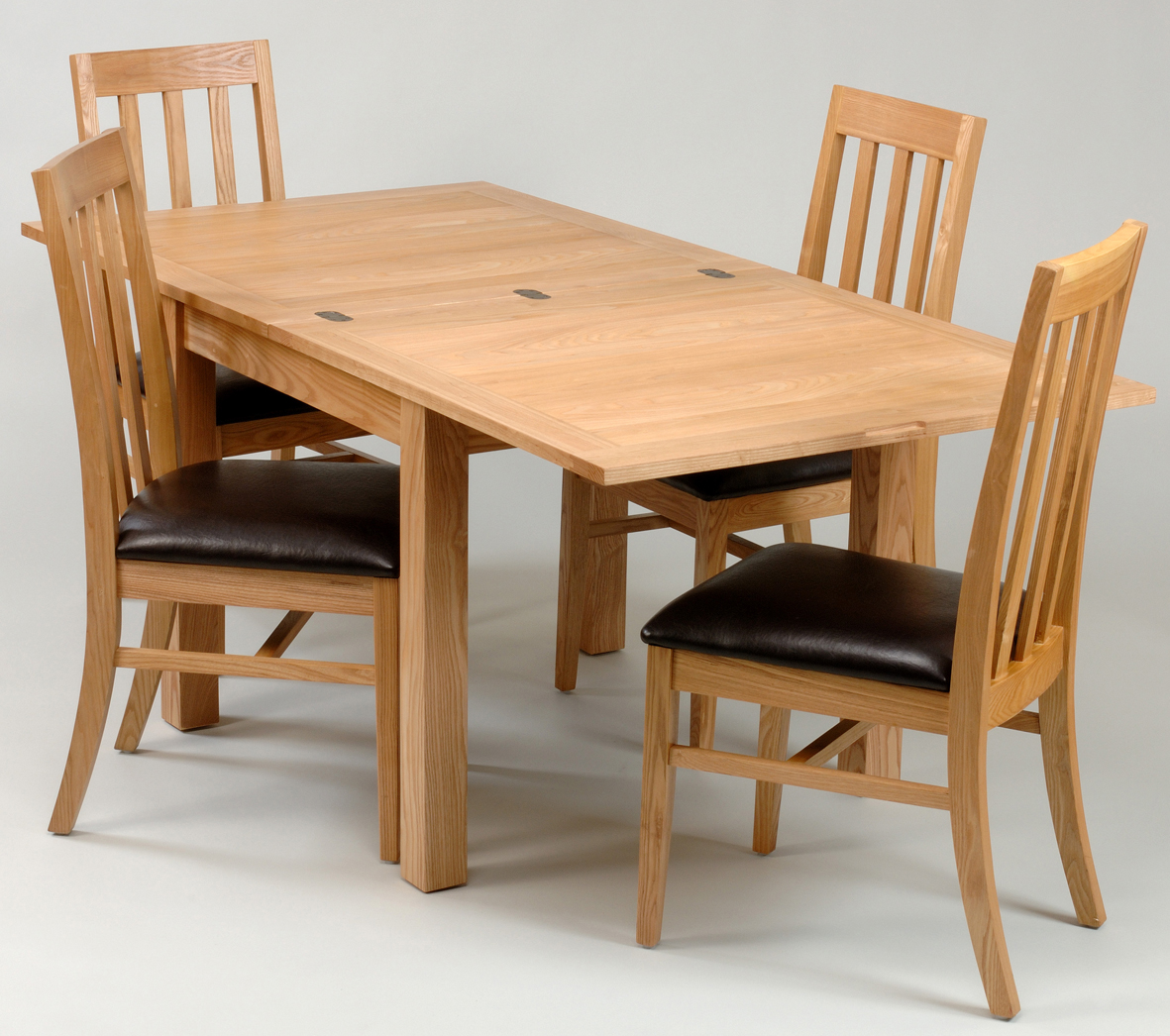 wooden expandable dining table set with leather seat for dining room furniture ideas