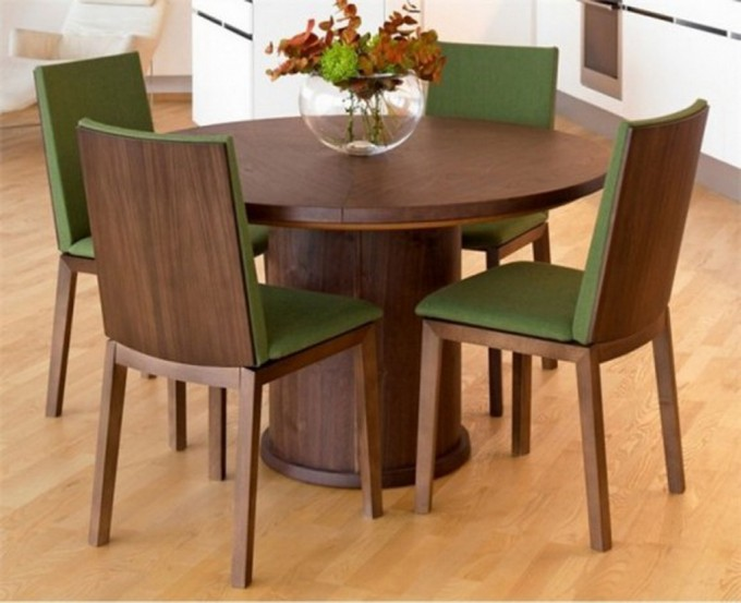 Wooden Expandable Dining Table Set With Round Table And Green Seat On Wooden Floor For Dining Room Decor Ideas