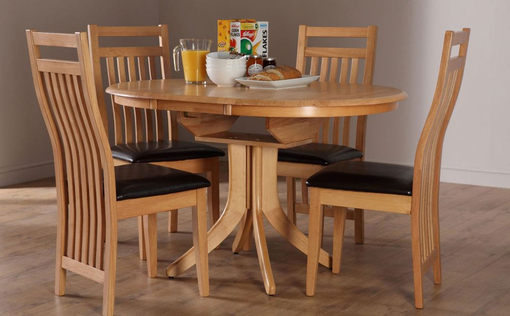 wooden expandable dining table set with round table on wooden floor matched with white wall for dining room decor ideas
