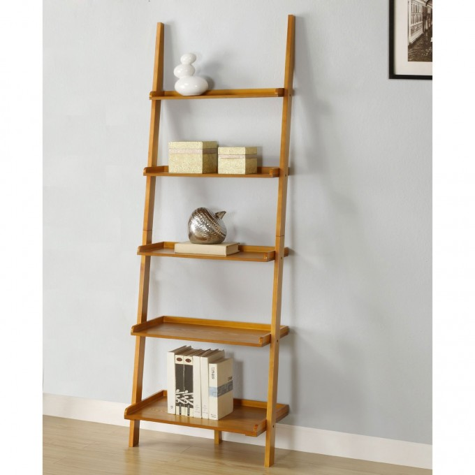 Wooden Ladder Bookshelf On Wooden Floor Matched With Blue Wall Plus White Baseboard Molding For Home Decor Ideas