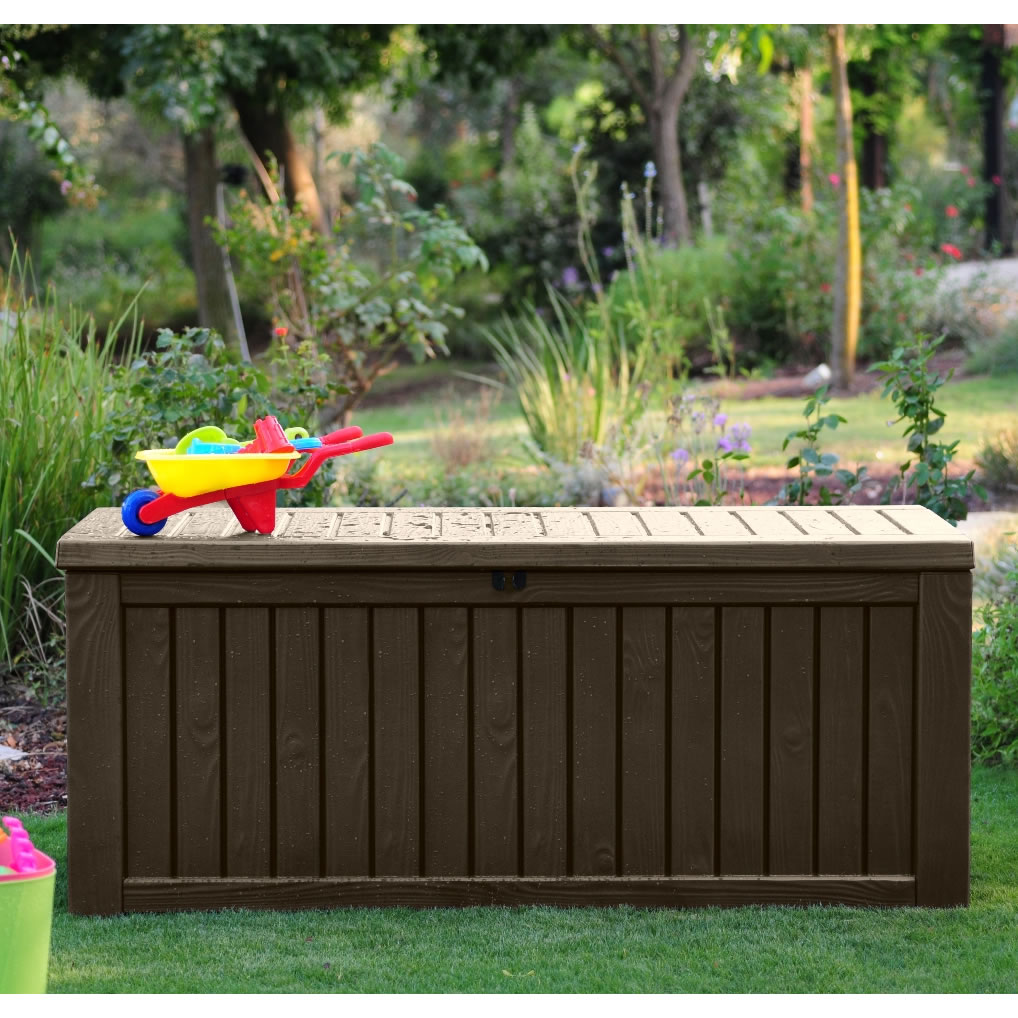 wooden Suncast Deck Box Ideas on the grass plus toy for patio decor ideas