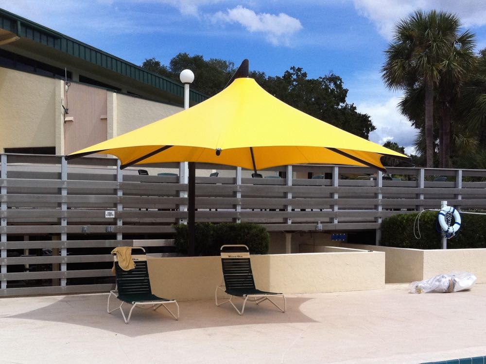 yellow cantilever patio umbrella with double chairs for patio decor ideas