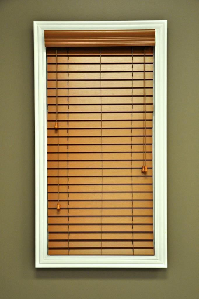 2 Inch Premium Smooth faux wood blinds on white window for home design ideas