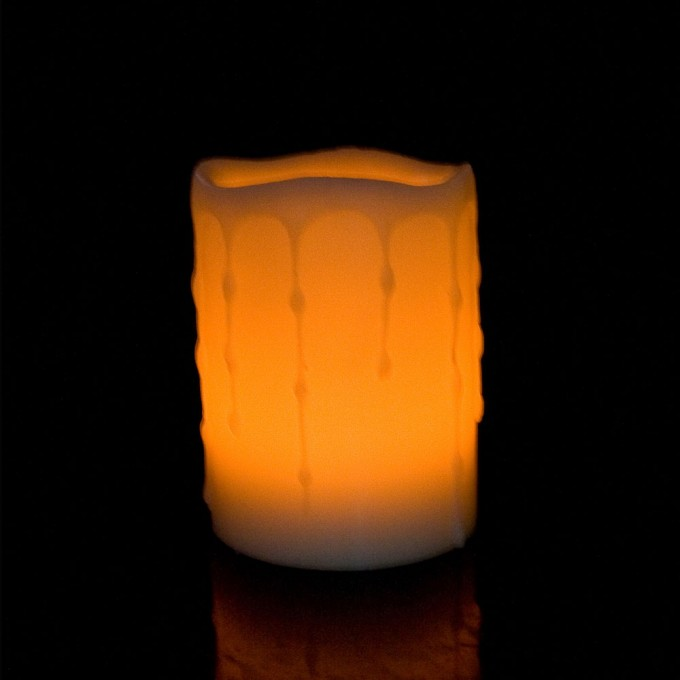 4 Inch Flameless Candles With Timer Melted Edge Yellow For Home Decoration Ideas