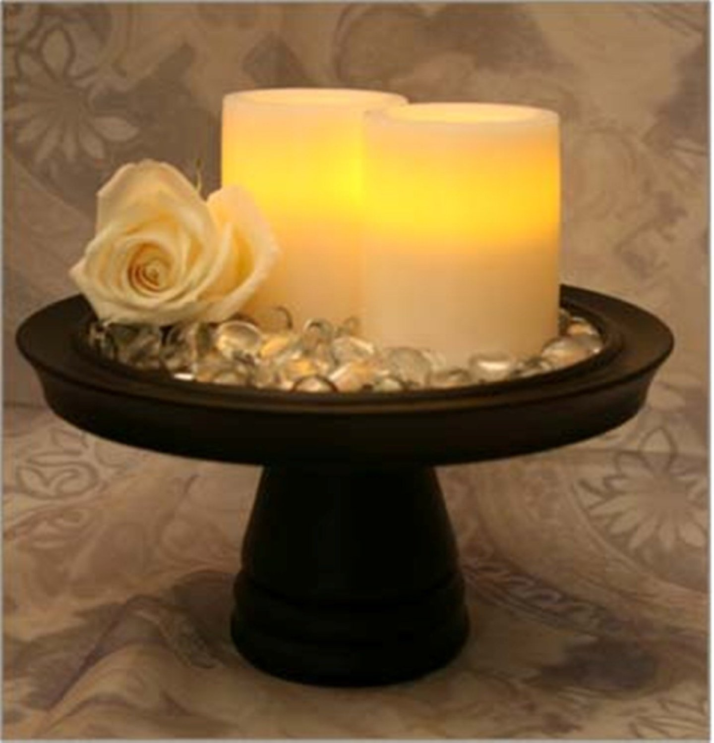 4 Inch Round Vanilla flameless candles with timer on black stand for home decoration ideas