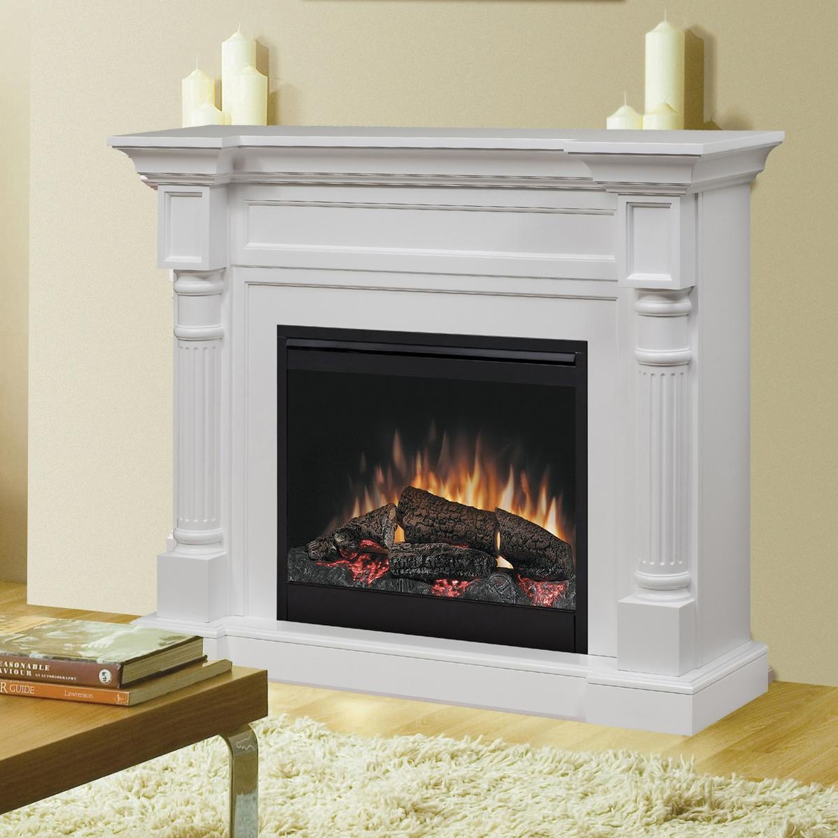 52 inch dimplex electric fireplaces with white mantel kit before the white wall matched with wooden floor with white rug and table for family room decor ideas