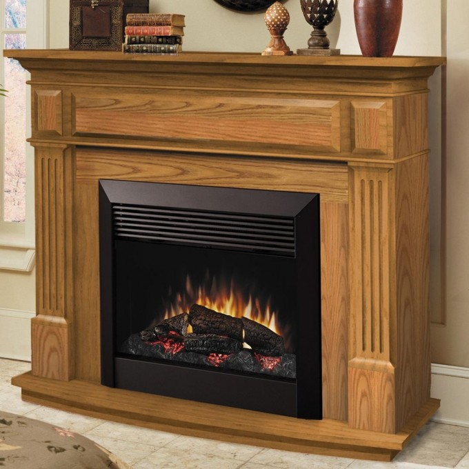 55 Inch Dimplex Electric Fireplaces With Oak Mantel Kit Matched On White Tile Floor For Family Room Ideas