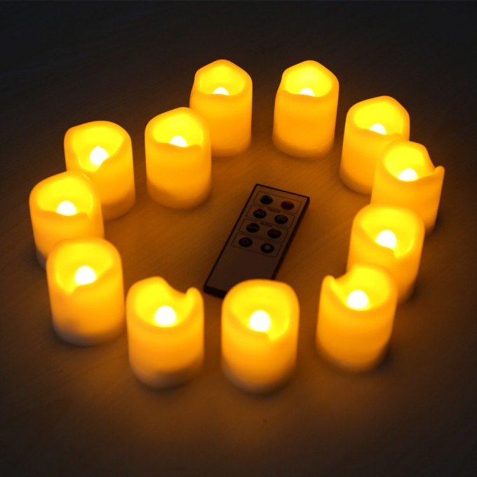 A Dozen Flameless Candles With Timer For Home Decoration Ideas
