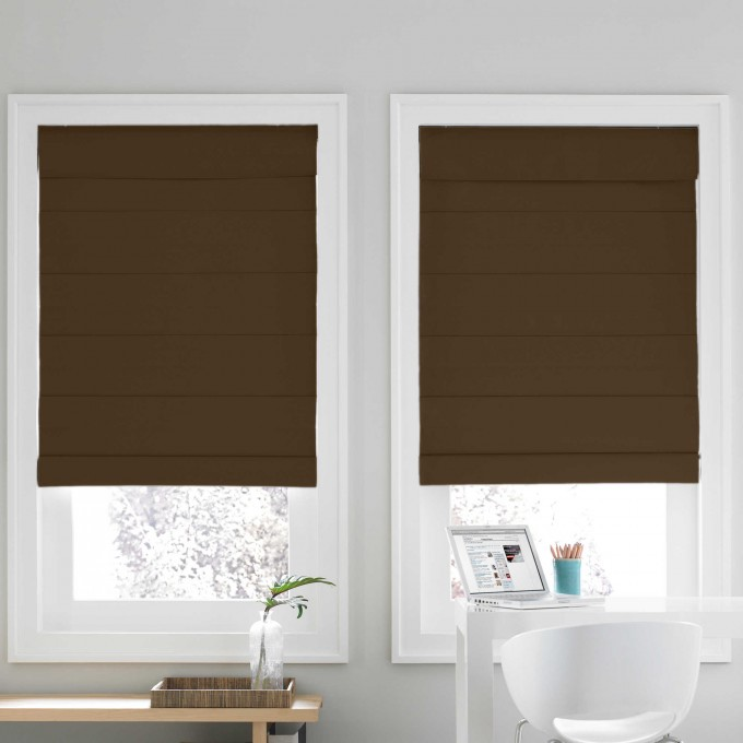 A Glass Window With Trim Board And Covered By Brown Levolor Cellular Shades On White Wall For Home Interior Design Inspiration