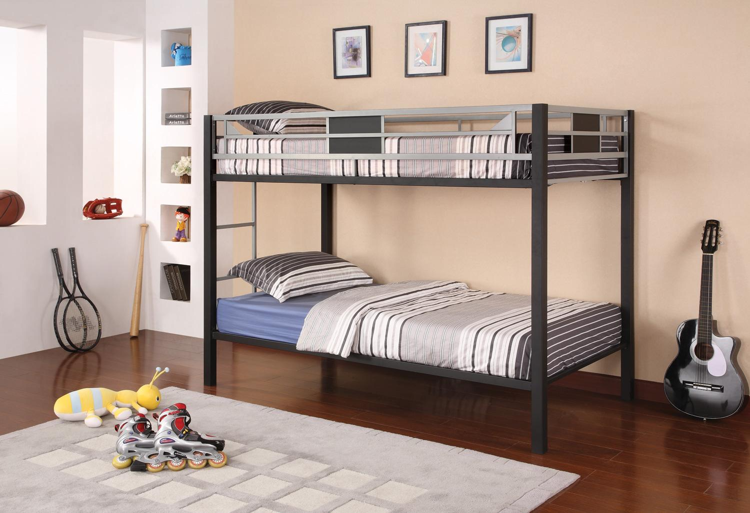 Alluring loft beds for teenagers with stripped bedding on wooden floor with rug matched with cream wall with pictures and rack for boys bedroom decor ideas