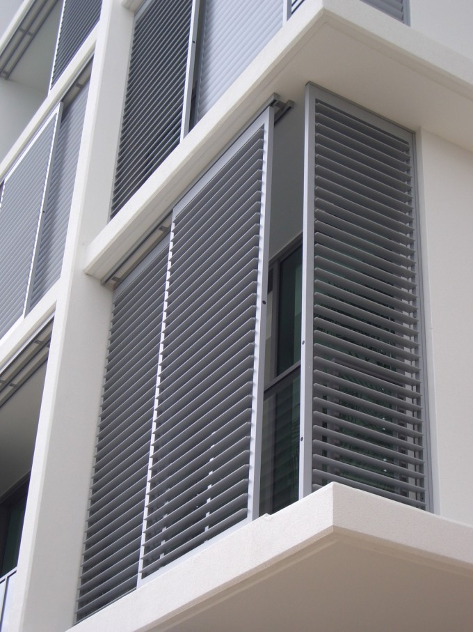 Aluminum Exterior Plantation Shutters With Sunburst Shutters Matched With White Siding For Home Exterior Design Ideas