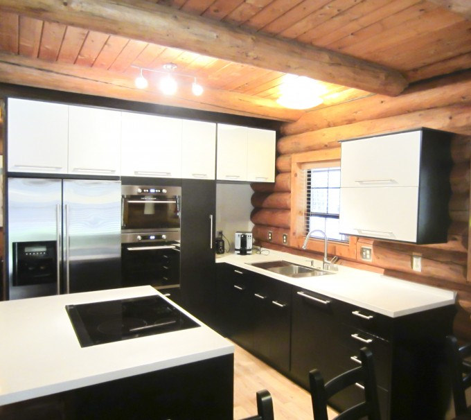 Amazing Kitchen American Woodmark Cabinets In Black With White Countertop And Sink Plus Faucet For Kitchen Decor Ideas