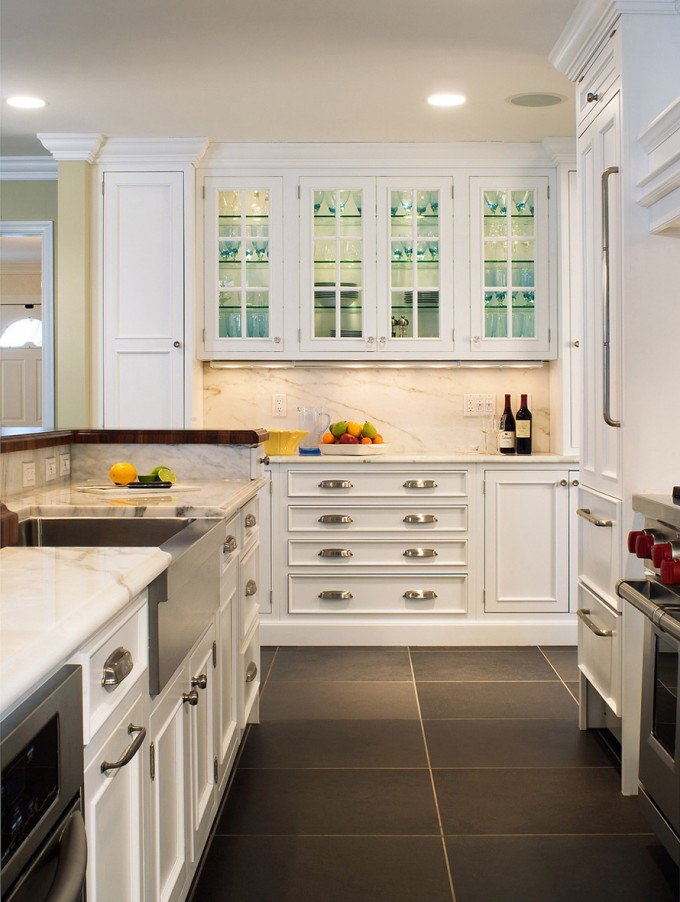Amazing Kitchen Bertch Cabinets In White With Silver Handle And Granite Countertop Plus Sink And Faucet For Kitchen Decor Ideas