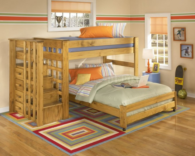 Amazing Wood Bunk Beds With Stairs And Storage On Wooden Floor Matched With Cream Wall With Window And Blinds Plus Checked Rug For Teen Bedroom Decor Ideas