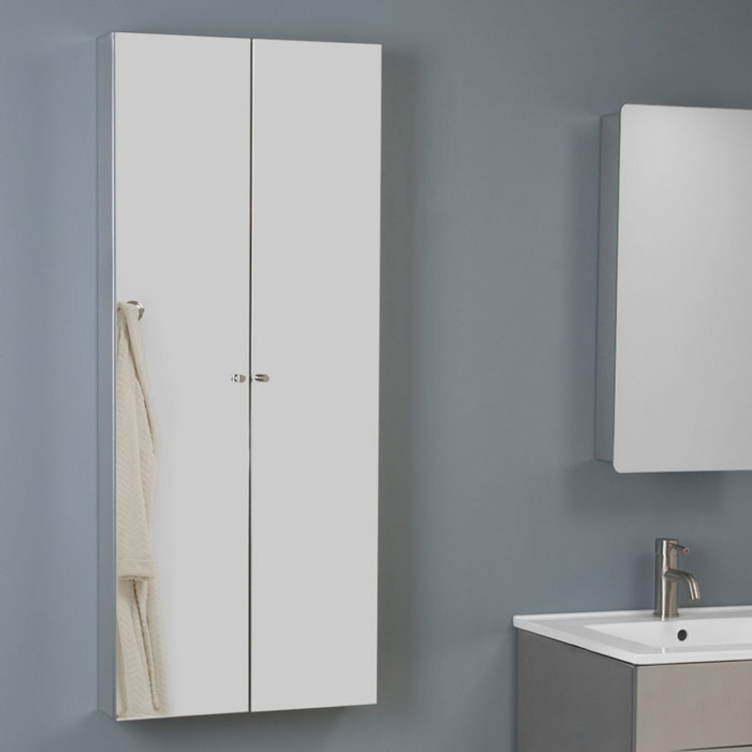 awesome bathroom bertch cabinets in white on blue wall plus medicine cabinet and sink for bathroom decor ideas