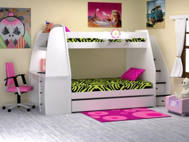 Awesome Bunk Beds With Stairs And Desk On Wooden Floor Matched With Yellow Wall For Teen Bedroom Decor Ideas