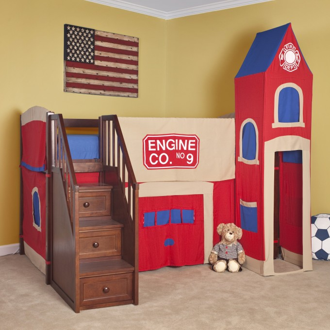 Awesome Bunk Beds With Stairs In Castle Design Before The Yellow Wall Matched With Beige Floor For Kids Bedroom Decor Ideas