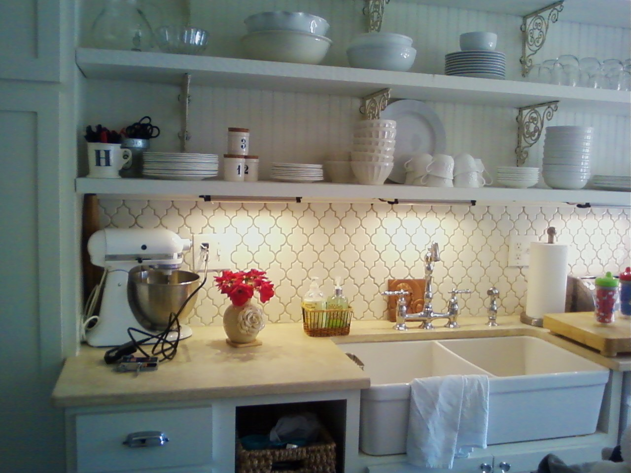 awesome decorative ceramic backsplash by Walker Zanger matched with granite countertop plus sink and faucet for kitchen decor ideas