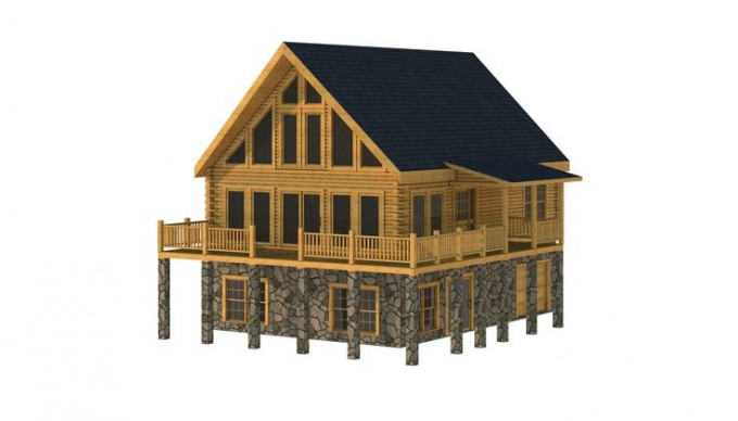 Awesome Exterior Design Of Southland Log Homes In Double Tier Design With Dark Roof And Glass Window Plus Door Ideas