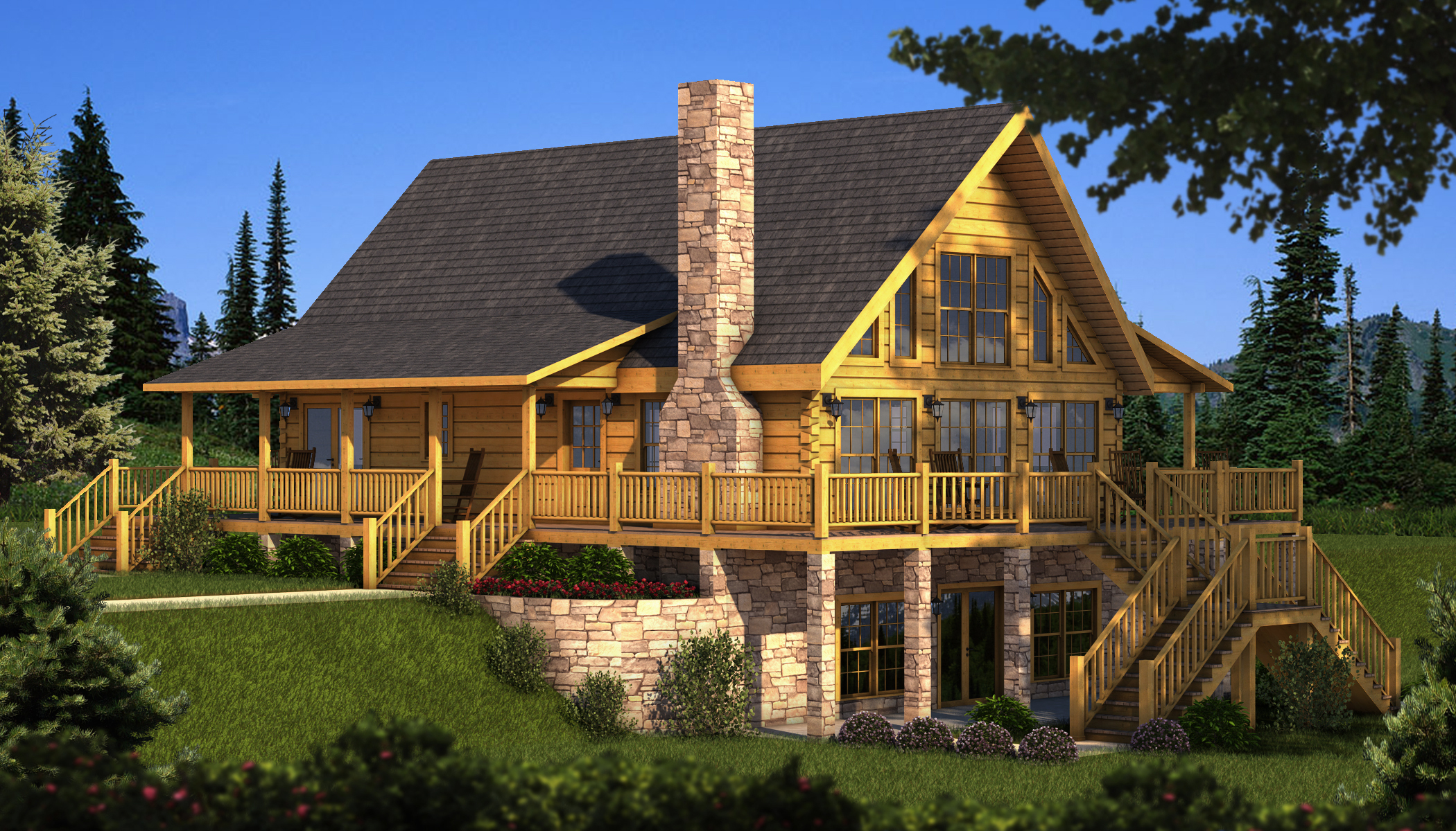 awesome exterior design of Southland Log Homes in double tier design with natural stone chimney and glass window plus wooden railing ideas