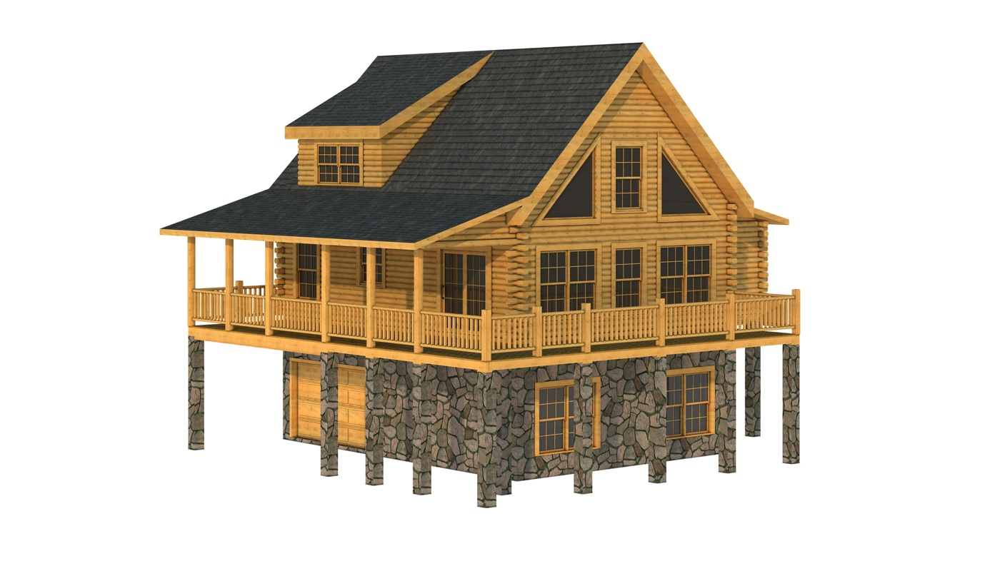 awesome exterior design of Southland Log Homes in double tier with natural stone poles at base ideas