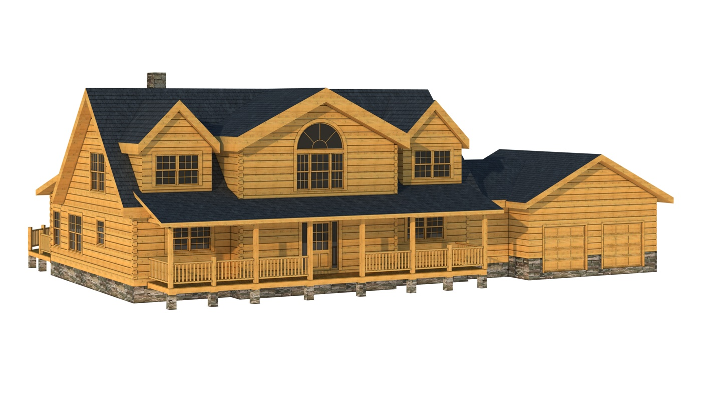 awesome exterior design of Southland Log Homes plan with dark roof and double hung window