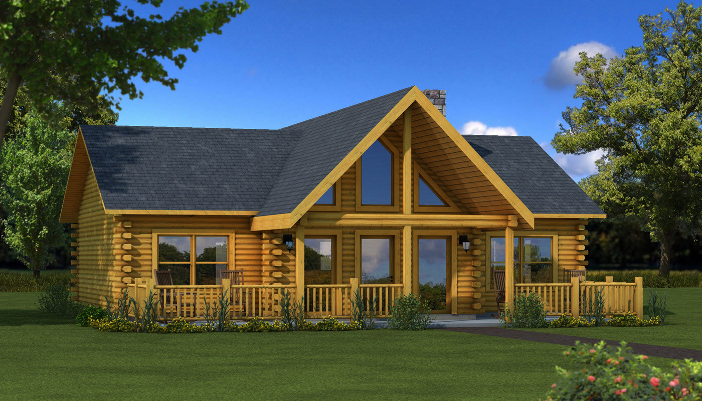 awesome home exterior design of Southland Log Homes with glass window and door plus black roof ideas