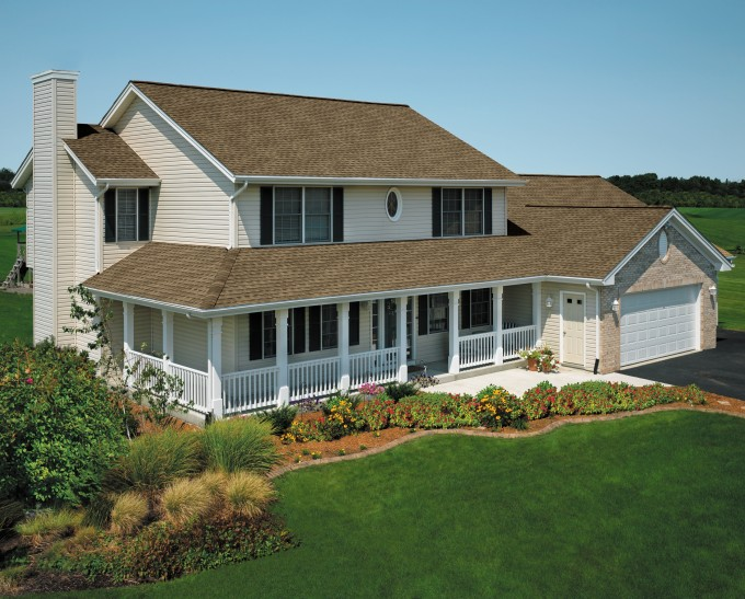 Awesome Home Exterior Design With Gaf Timberline Hd Roofing And White Siding Plus White Wooden Railing Ideas
