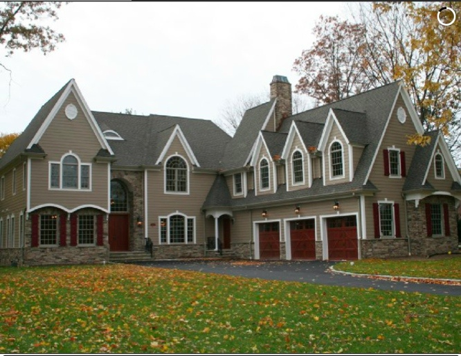 awesome home exterior design with tan horizontal hardie plank siding and white trim board plus red wooden door ideas