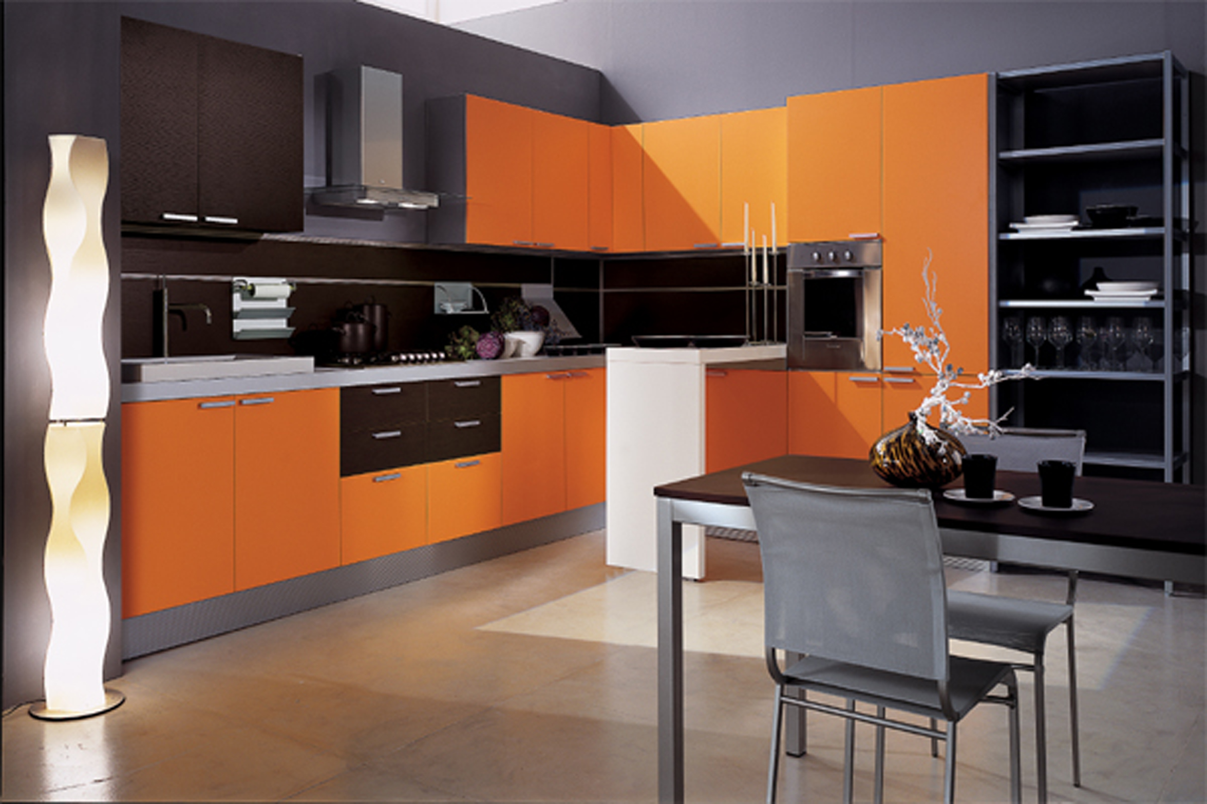 awesome kitchen american woodmark cabinets in orange with single oven and stove plus dining table for kitchen decor ideas