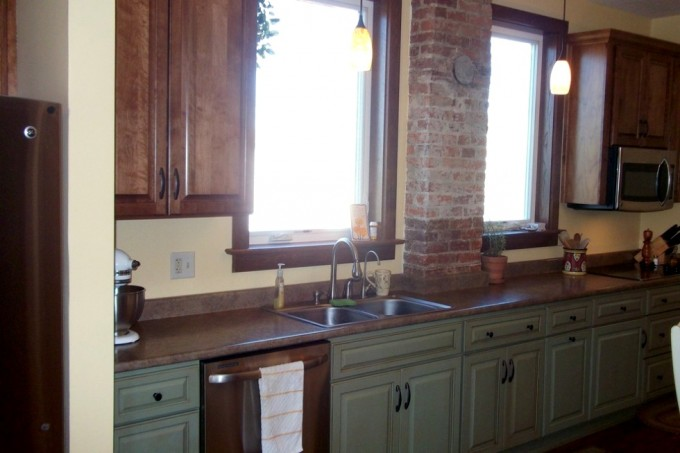 Awesome Kitchen Bertch Cabinets In Olive With Granite Countertop And Sink Plus Faucet For Kitchen Decor Ideas