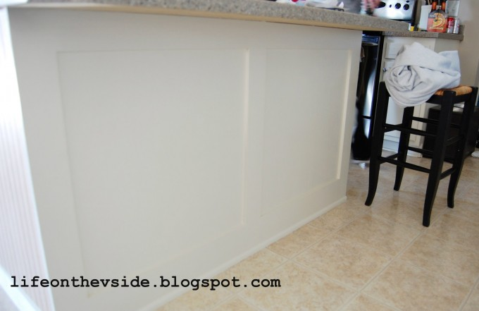 Awesome Kitchen Island Using Wall Doctor Beadboard Wallpaper And Countertop For Kitchen Decor Ideas