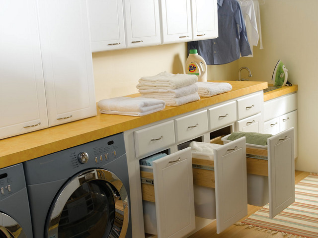 Awesome Laundry Bertch Cabinets In White With Silver Handle And Yellow Top Plus Washing Machine For Laundry Room Decor Ideas