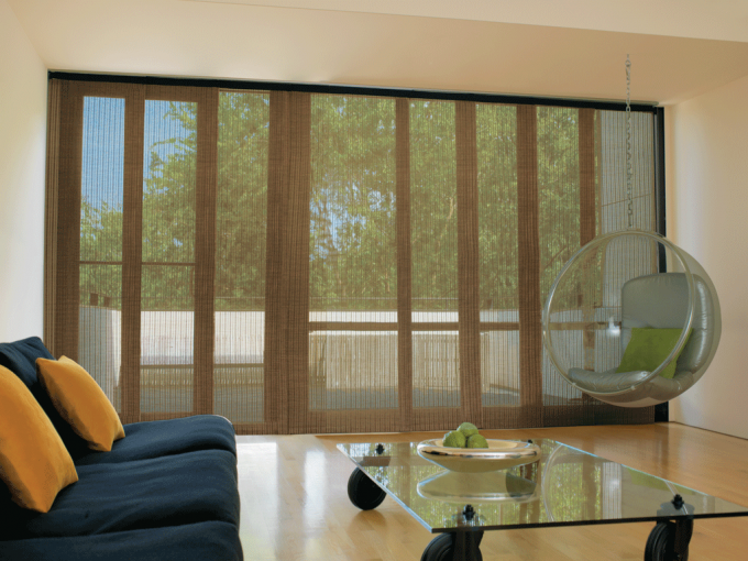 Awesome Levolor Cellular Shades Covering The Glass Sliding Door On Cream Wall For Home Interior Design Ideas