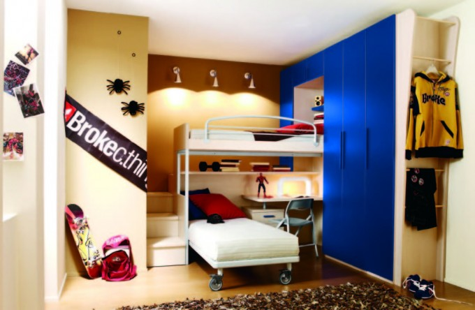 Awesome Loft Beds For Teenagers In White N White With Desk Next To The Blue Wardrobe Matched With Tan Wall With Lights For Cool Teens Bedroom Decor Ideas