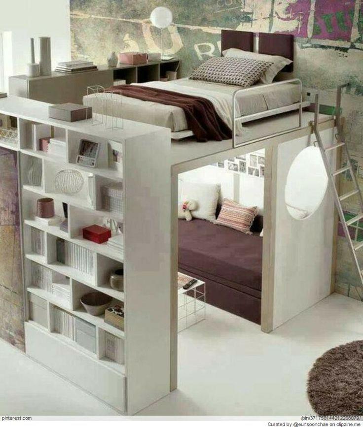 Awesome Loft Beds For Teenagers With Rack On White Tile Floor Matched With  White Wall For Teen Bedroom Decor Ideas