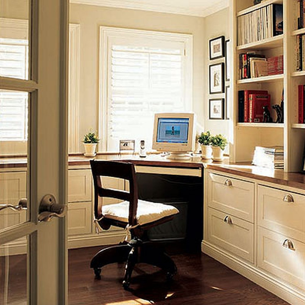 awesome office set by eurway furniture on wooden floor matched with white wall with window and blinds for home office decor ideas