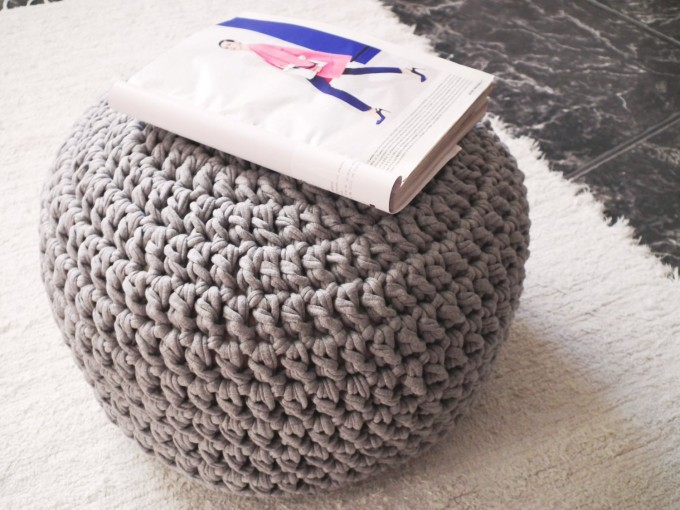 Awesome Round Wool Pouf Ottoman On Gray For Home Furniture Ideas
