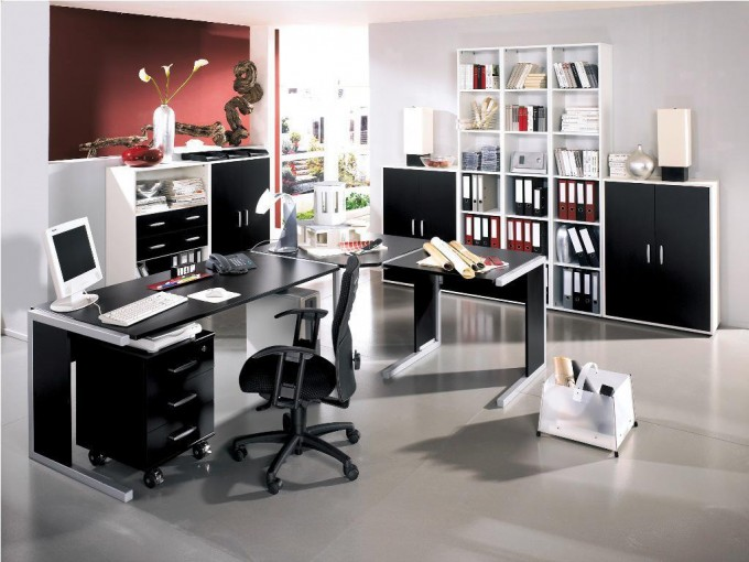 Awesome Table And Chair Office In Black By Eurway Furniture On Gray Tile Floor Plus Book Rack And Cabinet For Home Office Decor Ideas