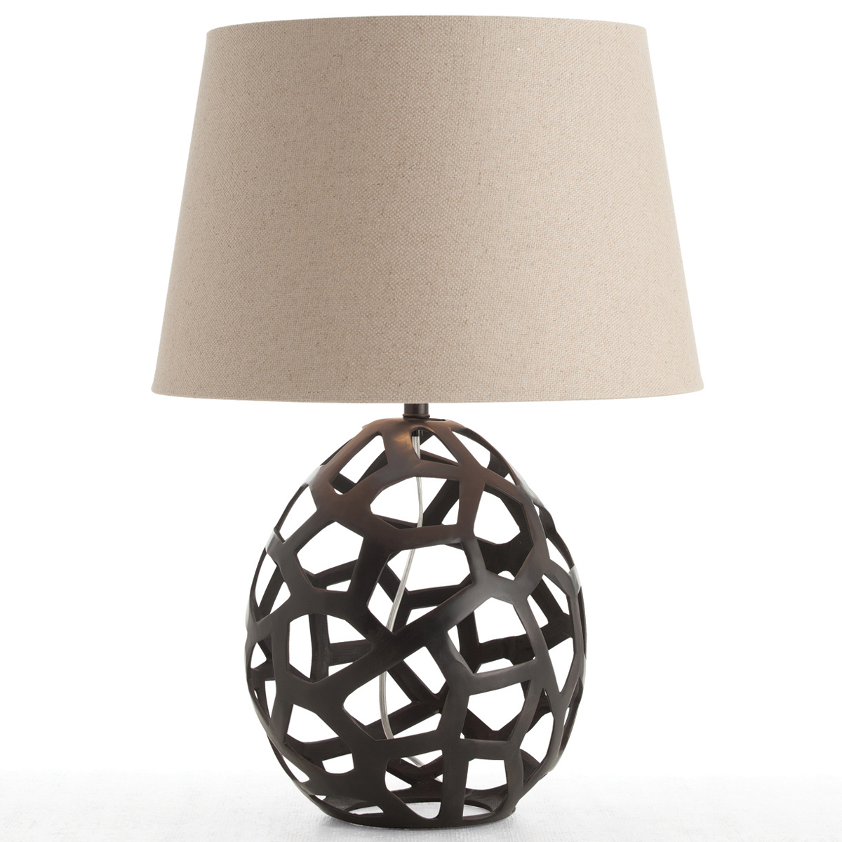awesome table lamp with white shade and decorative body in brown by Arteriors Lighting for home furniture ideas