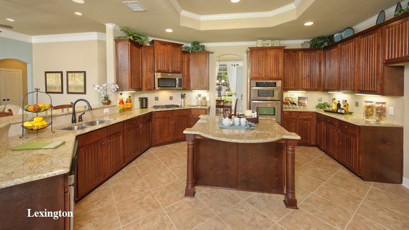 awesome Tilson Homes kitchen design with brown wooden kitchen cabinet on beige tile floor plus double oven ideas