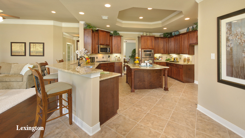 awesome tilson homes kitchen design with brown wooden kitchen cabinet on beige tile floor plus kitchen island and counter stool ideas