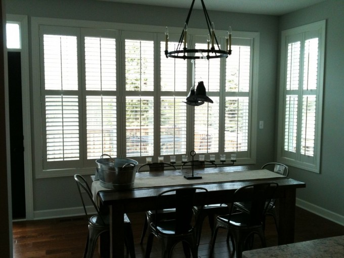 Awesome White Sunburst Shutters On Gray Wall Plus Pendant And Dining Table Set For Dining Room Decor Ideas