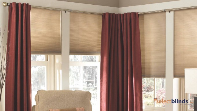 Awesome Window Decor With Levolor Cellular Shades In Cream And Red Curtains Ideas