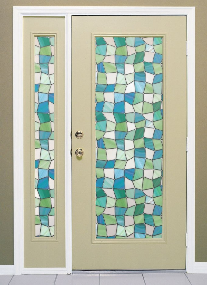 Awesome Window With Chic Artscape Window Film And Matching Door On Gray Wall For Home Interior Design Ideas