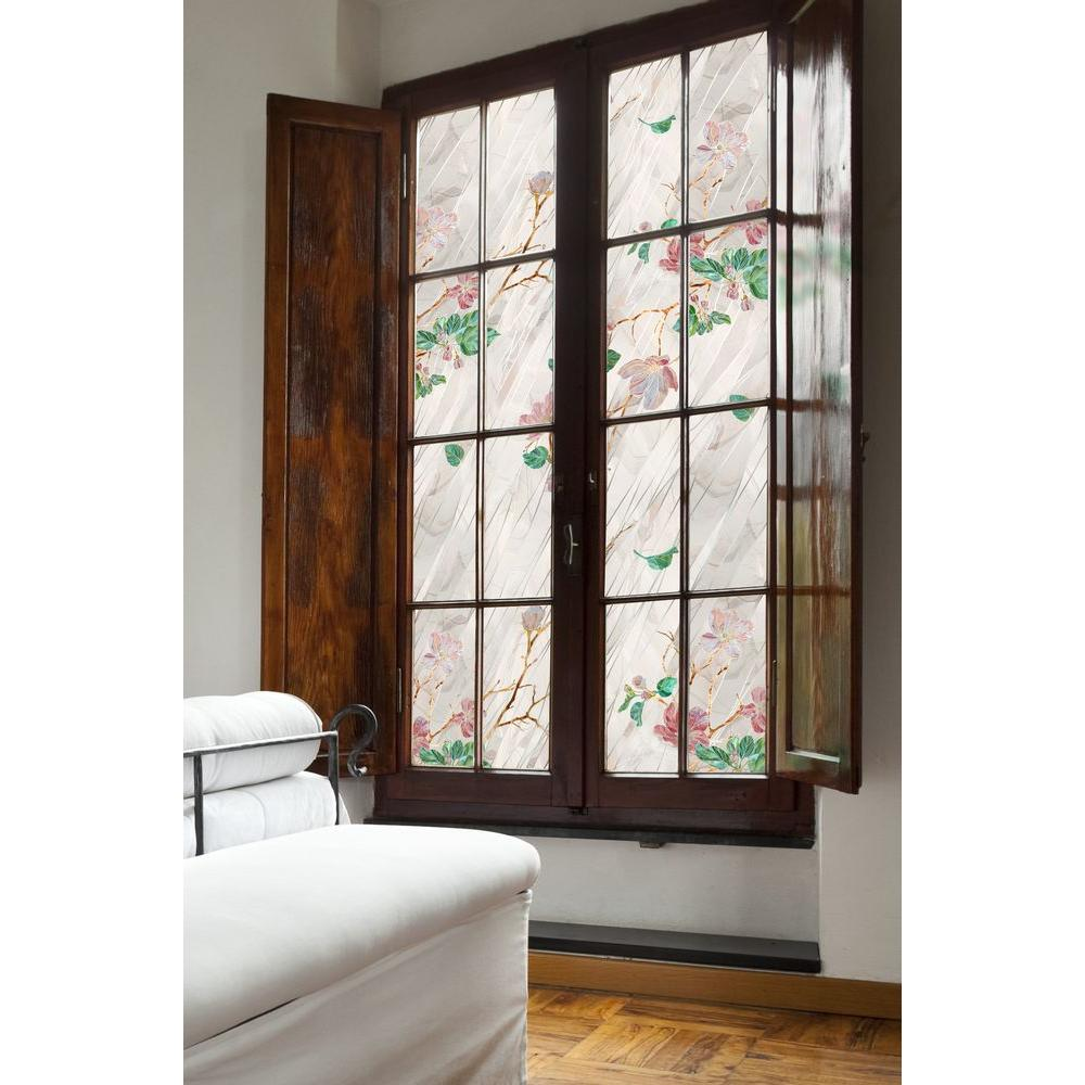 awesome window with floral artscape window film on white wall matched with wooden floor for home interior design ideas
